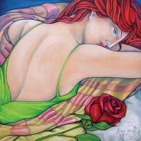 Éveil de la rose Huile, 16x 16 po