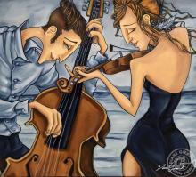 Duetto, acrylique, 32 x 36po